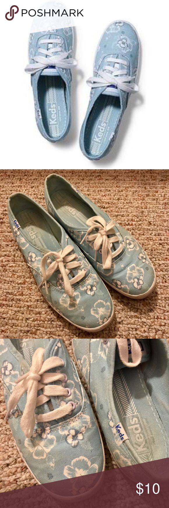 Keds Champion Blue Floral Sneakers 7.5 Cute blue floral Keds sneakers. Right for the spring/summer season. Very light and very easy to walk! Size 7.5. Retail price $45. Keds Shoes Sneakers