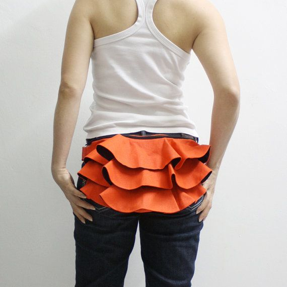 KINIES Ruffled Waist Purse in Orange  Fanny Pack / Hip by Kinies, $38.00. Once upon a time, I used to seek out and purchase purses like this.