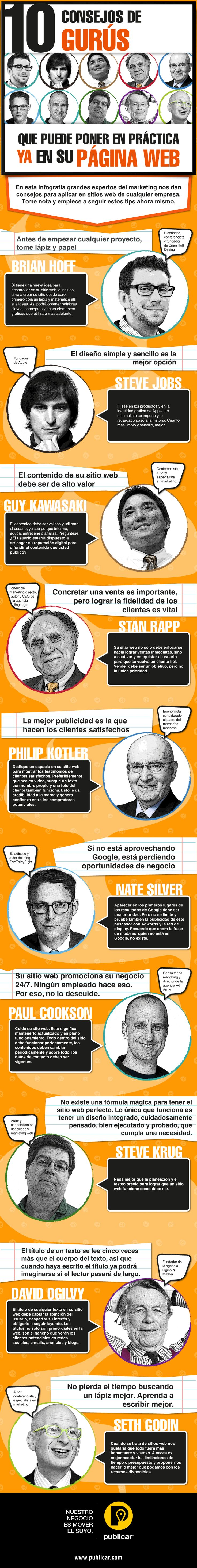 10 consejos de Gurús para tu página web #infografia #infographic Ideas Negocios…