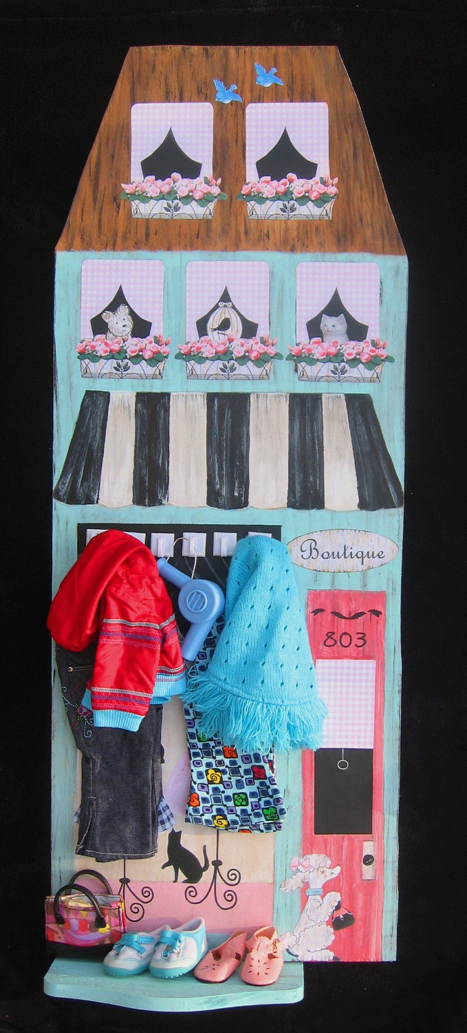 Paris Boutique Growth Chart or Mural - American Girl - Wood - March Isssue of MODEL LIFE MAGAZINE. $145.00, via Etsy.