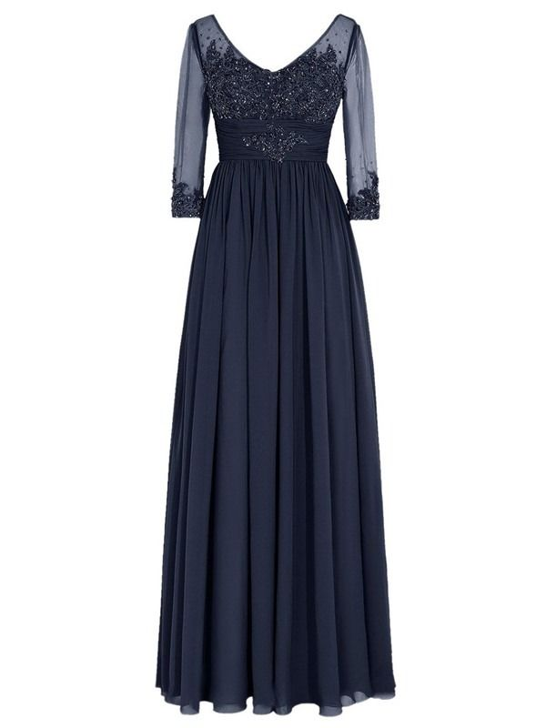 c24a3330d6a7 Long Navy 3/4 Length Sleeves Lace Chiffon Long Mother of The Bride Dresses