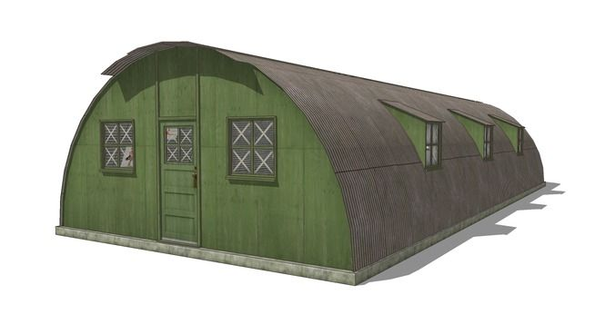 Large preview of 3D Model of Military barracks (Nissen / Quonset Hut) building