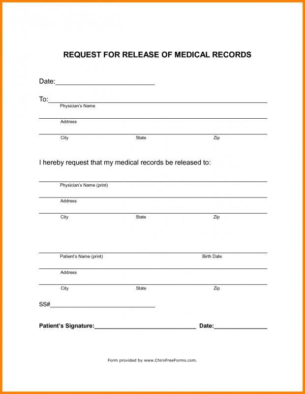 Blank Medical Records Release Form template Pinterest Medical - medical release of information form template