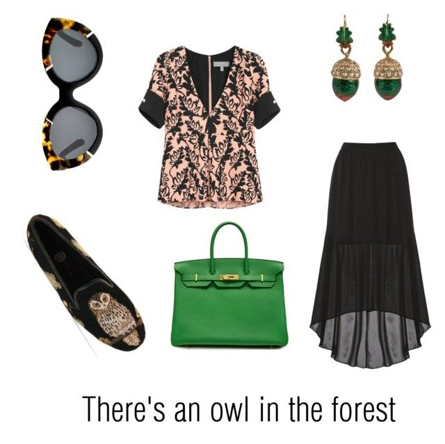 """There's an owl in the forest"" by lilithowl on Polyvore featuring Mulberry, Alice + Olivia, Hermès, Karen Walker, GREEN, owl, pattern, oak and cron"