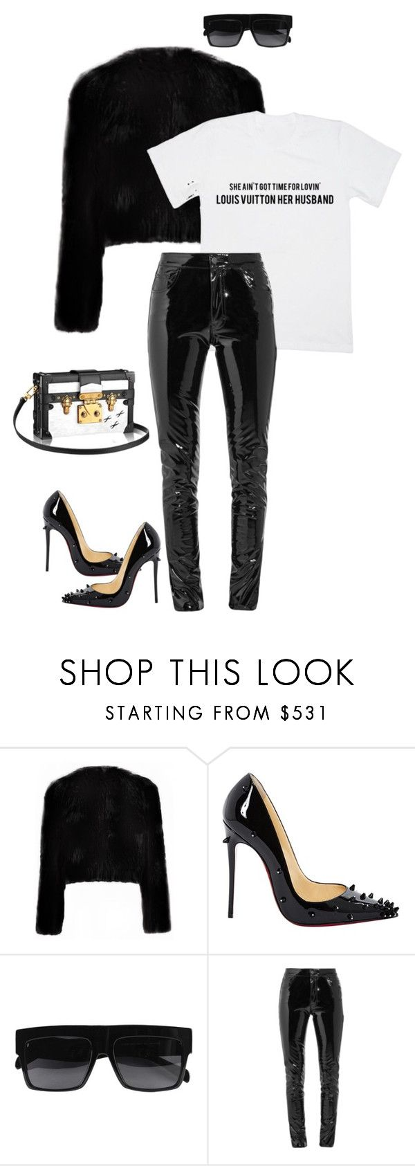 """""""Untitled #1051"""" by dianadolce ❤ liked on Polyvore featuring Louis Vuitton, Christian Louboutin, CÉLINE and Anthony Vaccarello"""