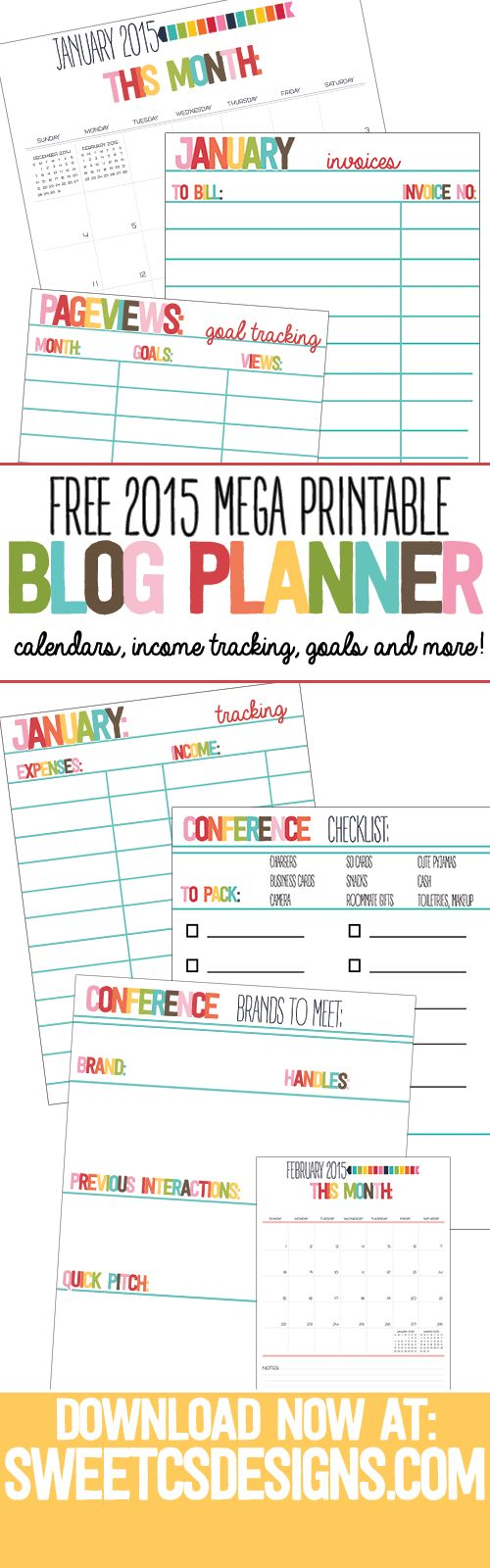 FREE 2015 Mega Blog Planner Printable Pack- over 58 pages of calendars, to do list worksheets, invoice trackers, cashflow statements and more!
