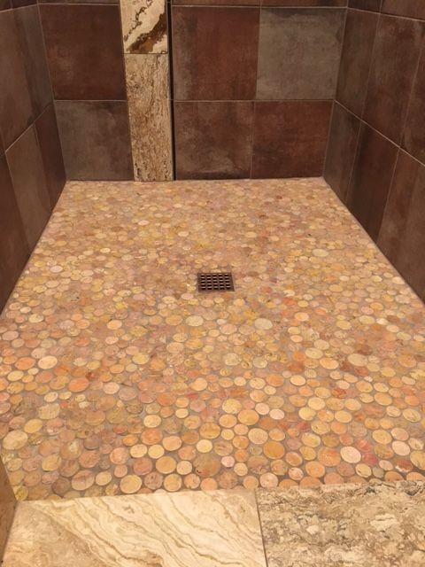 Glazed Sunset Moon Pebble Tile Shower Pan - Pebble Tile Shop