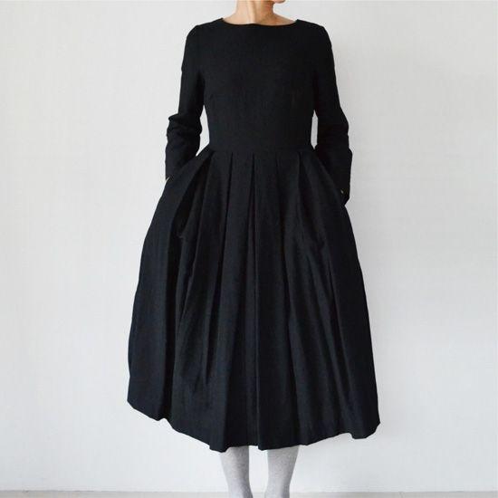 YAECA big tuck onepiece black - Promenade | オンラインショップ