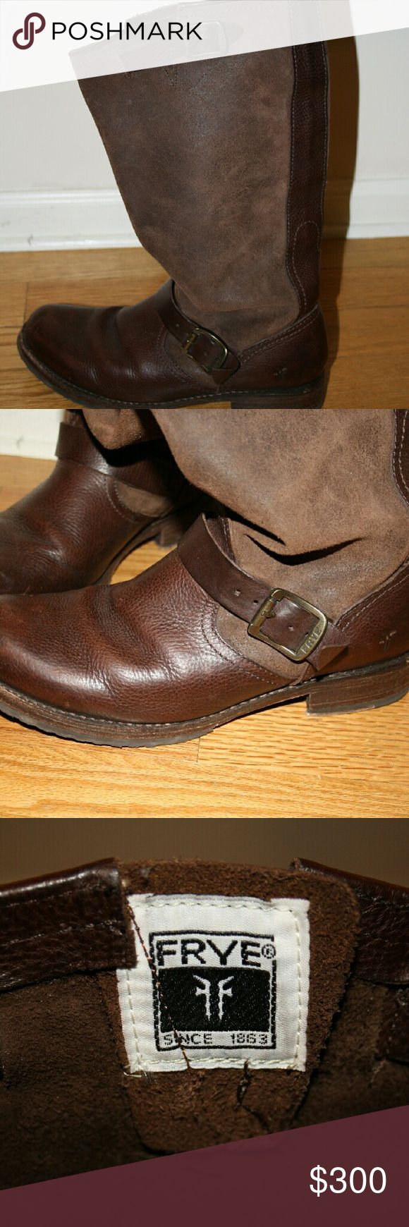 Genuine Barely Worn Frye Riding  Boots A gorgeous pair of Frye riding boots made out of genuine leather with buckles Frye Shoes Combat & Moto Boots