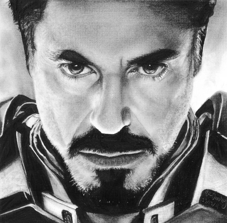 """A DRAWING of Iron Man, done with charcoal. Check out my """"Artwork"""" board for more of my drawings!"""