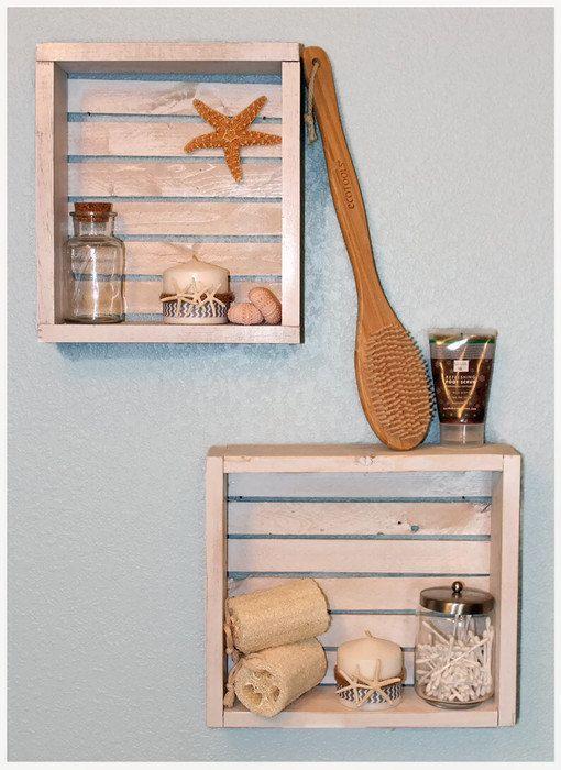 White Bathroom Shelves Nautical Bathroom Decor by BrandNewToMe
