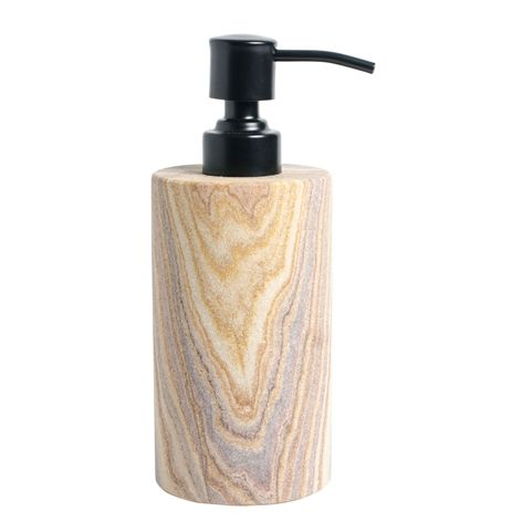 Tvålpump RAINBOW. 7,2x18 cm. Tvålpump i sandsten. Tandborstglas finns i samma serie.  Sandsten är ett naturmaterial och färg- och mönsterskiftningar förekommer