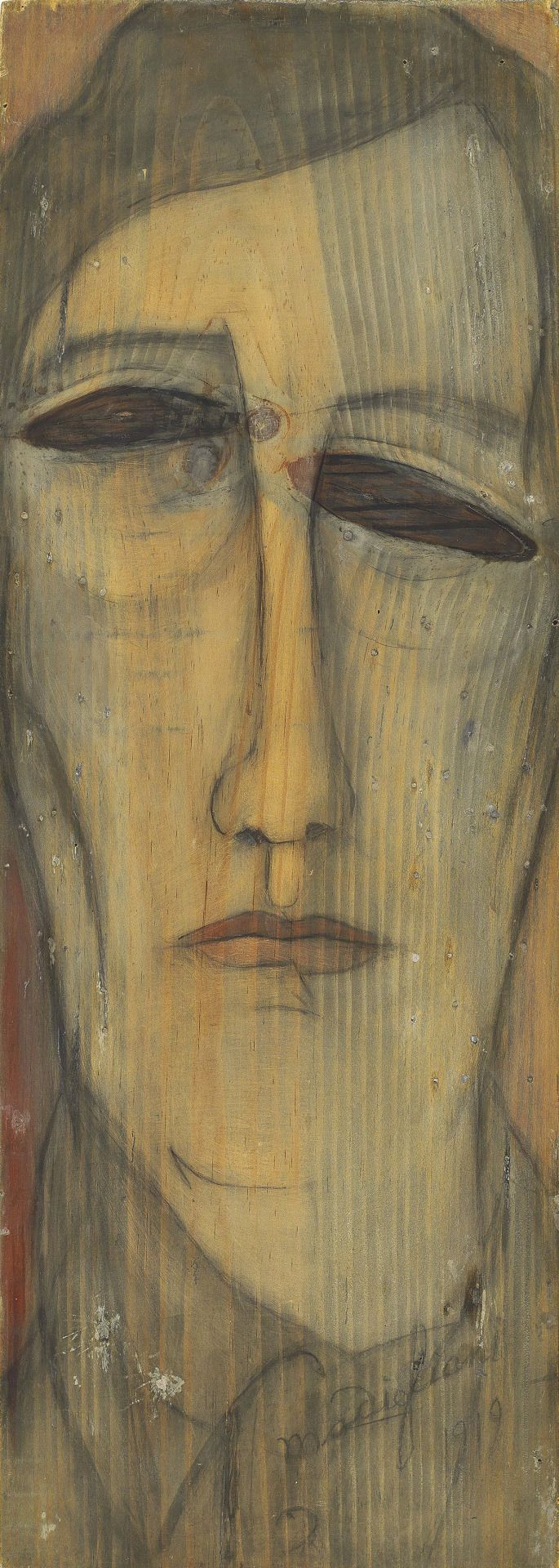 Amedeo Modigliani (Italian, 1884-1920), Autoportrait [Self-portrait], 1919. Oil on board, 52 x 18.5 cm.
