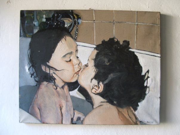 """Children in bathtub"", oil on canvas, 40X60cm, painted by Marcin Truszkowski"