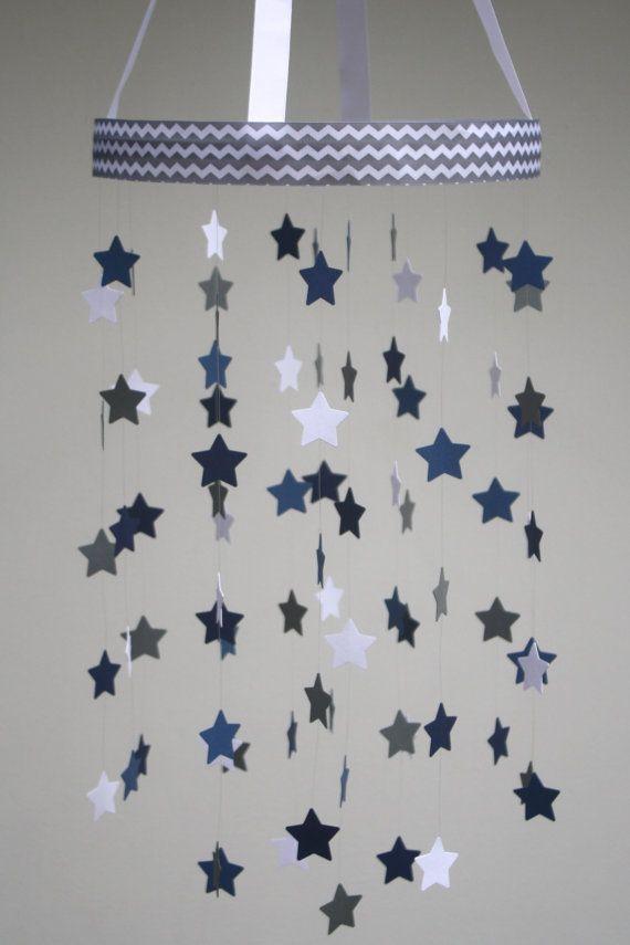 Baby Mobile  Star Mobile  Navy Dark Blue Gray and by BabyJayDecor, $58.00