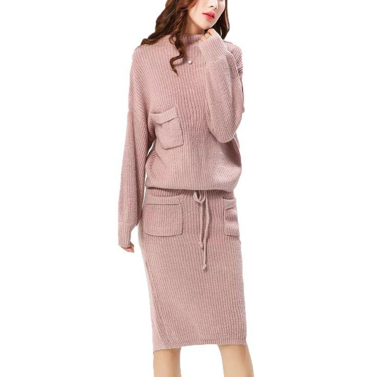2016 осень и зима женщины повседневная уздечка украшение карман Сплошной цвет вязать юбка костюм купить на AliExpress