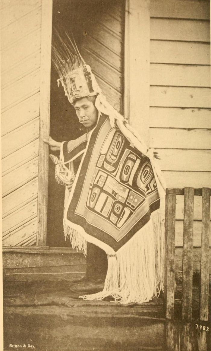 7. Kitch Kawk, a Tlingit man of Sitka, in dancing costume. In the list of figures he is identified as a shaman. (1886-1887)