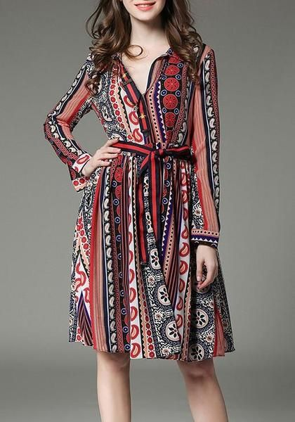 Multicolor Bohemian Floral Striped Sashes Long Sleeve Sundress
