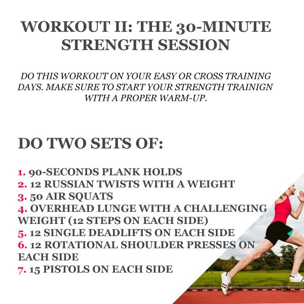 The Seven Best Strength Training Exercises For Runners - 30 minutes. Use this on a light run day.