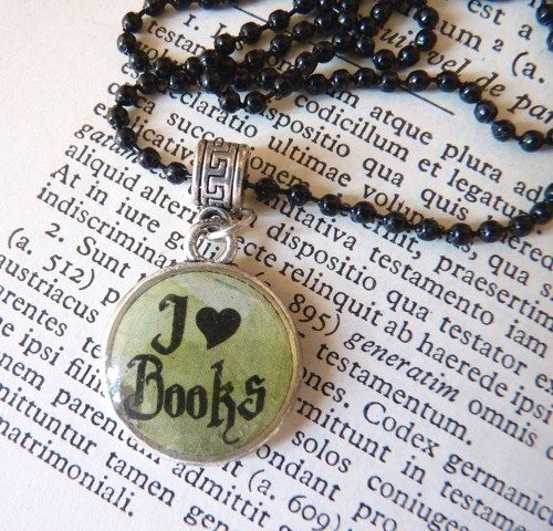 """I Love Books"" 2-Sided Charm Necklace with Black Chain 