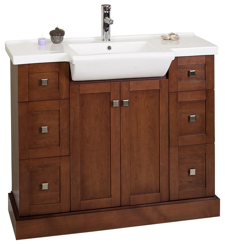 Amimage 40 Inch Single Sink Bathroom Vanity Cherry Finish