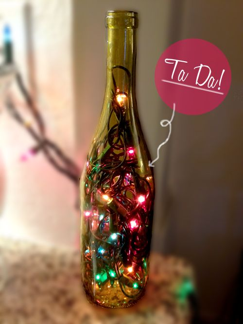DIY: Wine Bottle Christmas Light Decorations