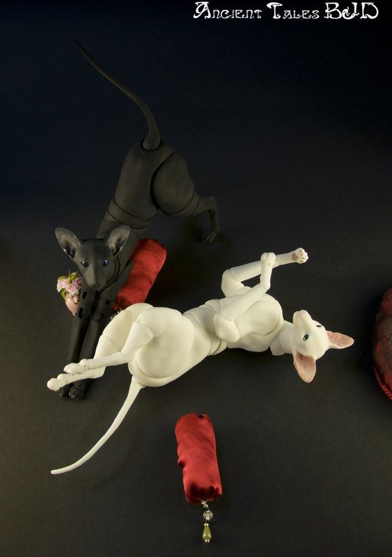 TWO BJD Doll Oriental cats Ball jointed doll cat. by AncientTales