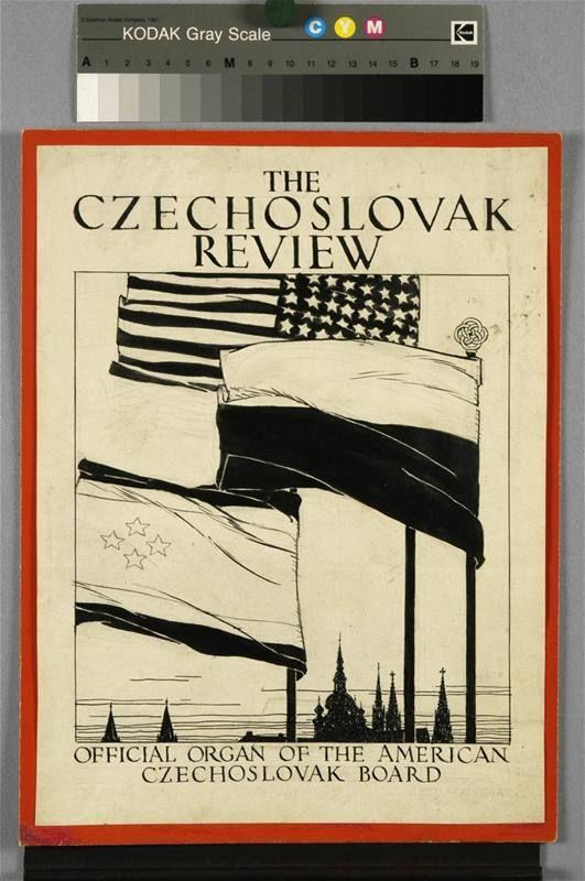 Vojtěch Preissig - návrh na obálku The Czechoslovak Review (1919) - kresba tuší, 33 x 25 cm
