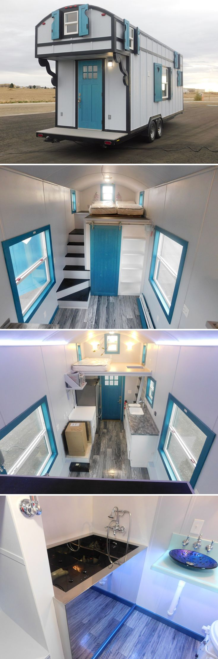 This highly customized 28' French Storyteller tiny house is complete with chandeliers, window shutters, a barrel roof, and Grand Victorian door knob.