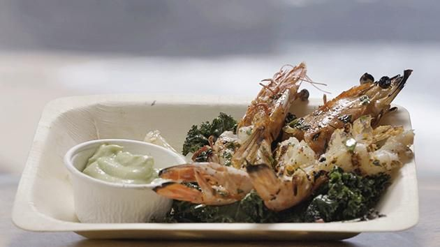 Barbecued Prawns with Kale and Avocado Mousse