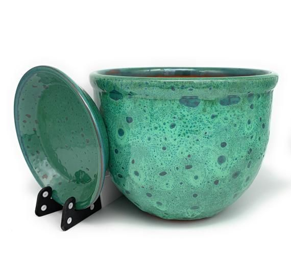 Ceramic Plant Pot Glazed With Saucer Round Green Terracotta With Drip Tray Flower Pot Clay Coloured Flower Pot Sea Foam Ceramic Plant Pots Ceramic Flower Pots Potted Plants