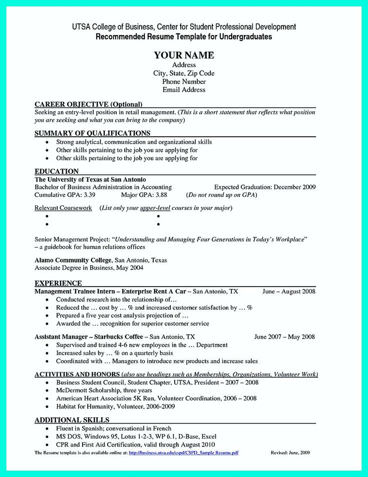 awesome the perfect college resume template to get a job
