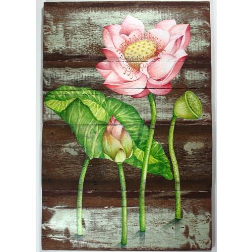 Beautiful Lotus Painting on Antique Thai House Wall Wood | eBay