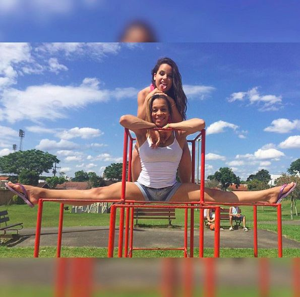 """19 Pictures Of Gymnasts Being """"Normal"""" That Will Truly Amaze You ... ~♥~ ... Oh, to have flexibility.                  This picture of a Brazilian gymnast, Jade Barbosa, casually hanging off a playground thing:  WHAT THE? instagram.com                      This picture of Brazilian gymnast, Lorrane Dos Santos, casually doing a split on a playground thing:  THAT WOULD... ..  - #Sport ... ~♥~ SEE More :└▶ └▶ http://www.pouted.com/trends/popular-trends/sport/19-pic"""