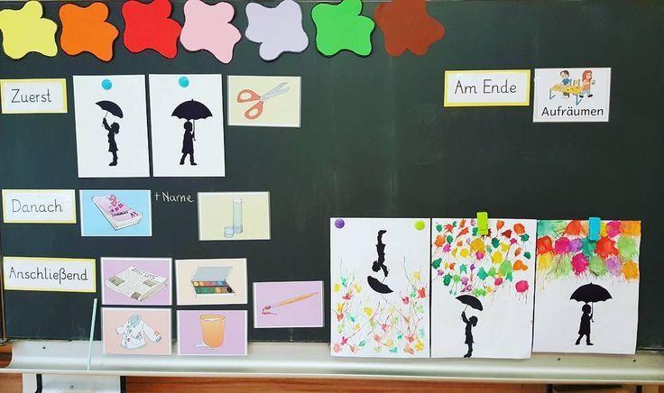 """Heutige Kunststunde – """"Kinder im Herbstregen"""". Viel gesehen hier und auf pintere"""