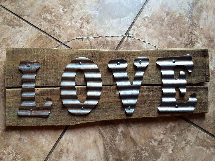 ReCLaiMEd BaRn WooD LOVE  CoRRuGaTeD TiN MeTaL BaRbeD WiRe HaNdMaDe RuSTic SigN #Handmade #RusticPrimitive