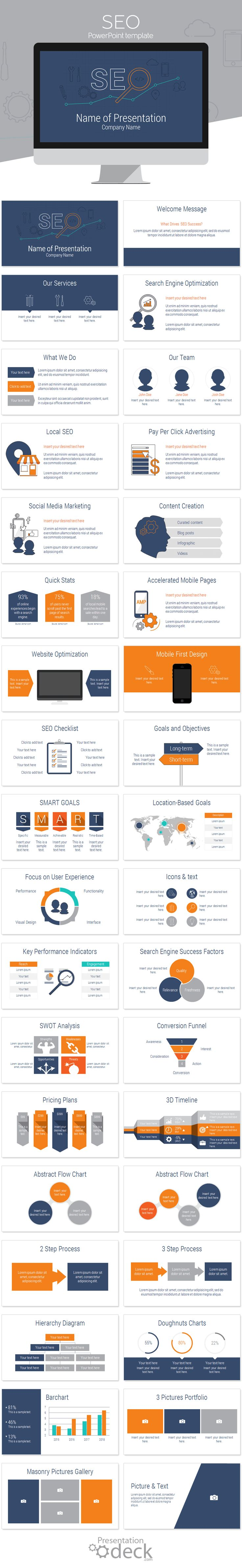 Search engine optimization PowerPoint template with 36 beautifully designed slides! This template is perfect for digital marketing agencies and could be used for presentations on; digital marketing, website optimization, online marketing, SMM, etc.