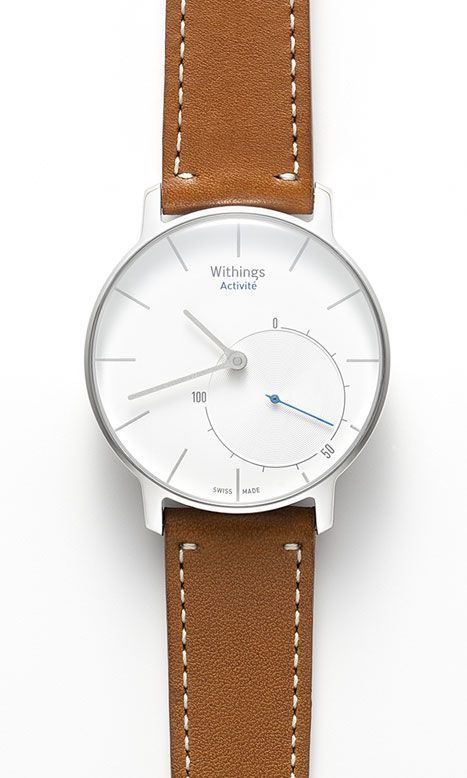 Withings Activité: a handsome analog-style watch with activity/sleep tracker and super simple feedback (1-100% dial for whatever fitness goal you care about most). best of all: Withings has already committed to playing friendly with the HealthKit API. $390