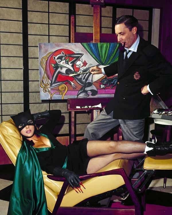 "astromonster: "" I know I've posted the BW version before but this is irresistable. Batgirl Yvonne Craig poses for BATMAN creator Bob Kane in a staged publicity shot. """