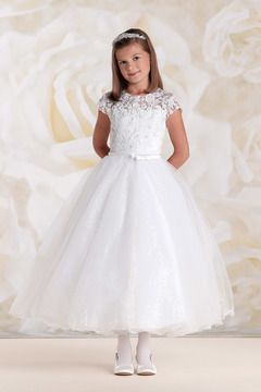 2015 Short Sleeves Scoop A Line Flower Girl Dresses With Applique And Ribbon Tulle US$ 109.99 BFP88KERTS - BlackFridayDresses.com