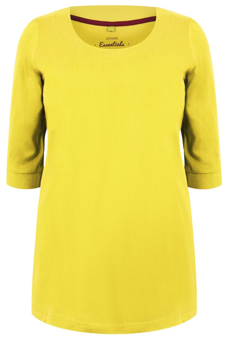 Chartreuse Green Band Scoop Neckline T-shirt With 3/4 Sleeves