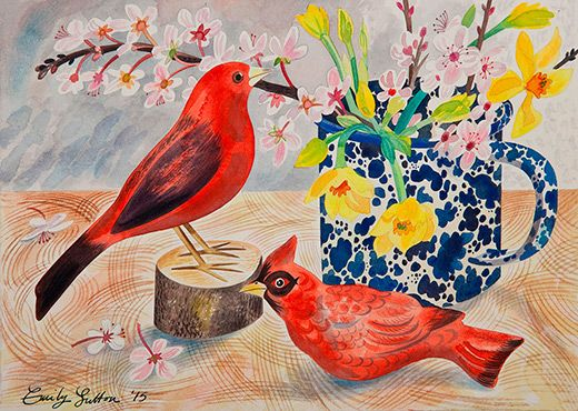 """Two Red Birds"" by Emily Sutton (watercolour)"