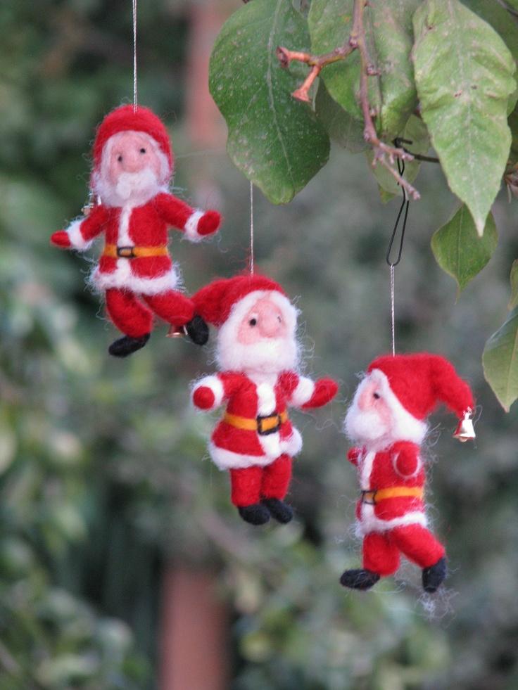Needle felted Santa Claus Christmas ornament. $32.00, via Etsy.
