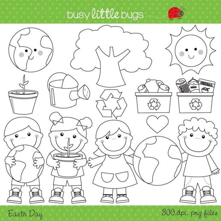 Earth day clipart set including black lines!