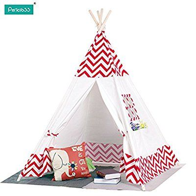 Pericross Children Teepee Kids Play Tent Indian Tent for Kid Indoor Play Ground Play House Tents Kid Outdoor Garden Tent (Red-white)