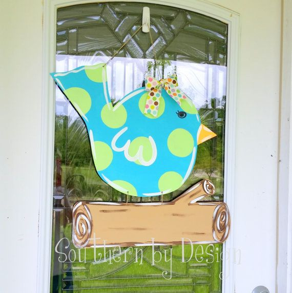 BIRDY on a BRANCH for Spring & Summer - Wooden Door Hanger - Door Sign, Spring Decor, Summer Sign, Bird Sign
