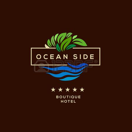 Logo for boutique hotel ocean view resort logo design vector illustration Stock Vector