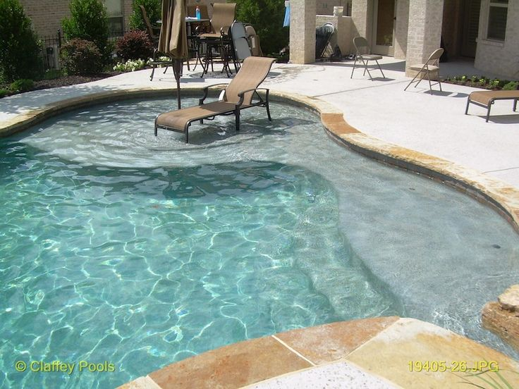 Inground pool with baja shelf google search backyard for Pool design with sun shelf