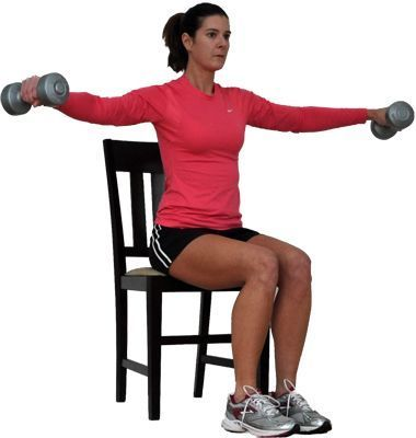 Try This Seated Total Body Workout for Overweight and Obese Exercisers: Seated Lateral Raise