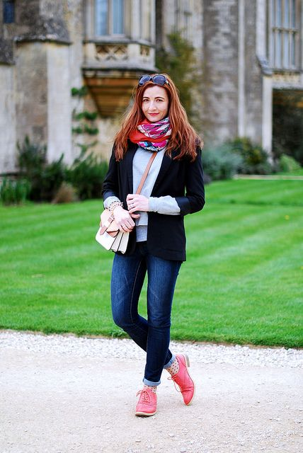 Black blazer & multi coloured scarves by Not Dressed As Lamb // LOVE this whole outfit